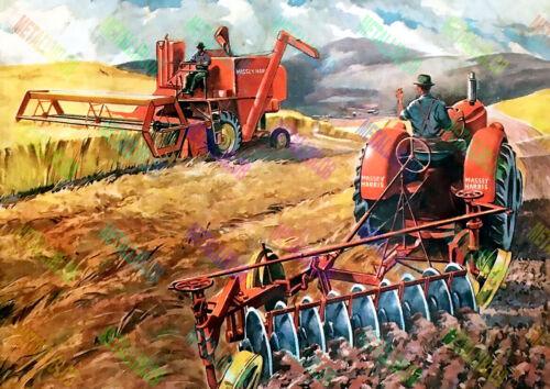 Cartel De Tractor Massey Harris cosechadora & (A3) - (3 para 2 Oferta)