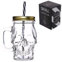 NEW 13CM Fun Gothic Skull Shaped Glass Drinking Jar with Metal Lid & Straw JAR29