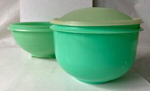 TUPPERWARE Green Lettuce Keeper Lid & Jadite Green Colander 339-3 1424-2 vintage