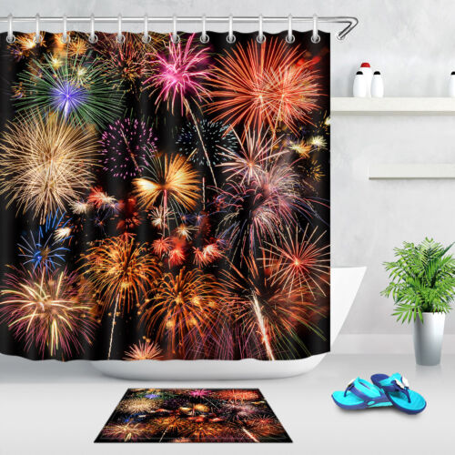 Hooks Colorful Firework Shower Curtain 100/% Polyester Bathroom Fabric Curtains