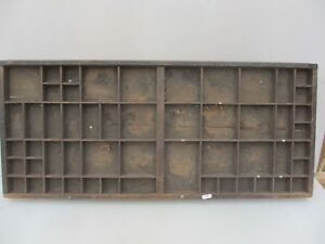 Antique-Wooden-Printers-Drawer-Tray-Wall-Display-Rack-Letterpress-Old-Vintage