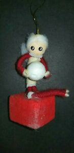 VINTAGE-JAPAN-PIPE-CLEANER-GIRL-HOLDING-BALL-CHRISTMAS-FOAM-COTTON-ORNAMENT