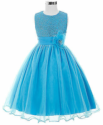 Age 2 -12 Flower Girl Dress Formal Evening Wedding Party Bridesmaid Dresses Blue