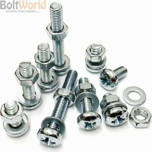 8 of 4 mm Thread x 100 mm Long ~ Pozi Pan Head ~ Including Nuts Zinc Plated