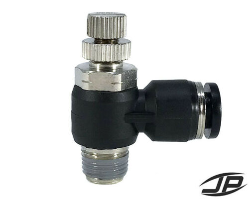 """1//4/"""" OD Tube to 1//8 NPT Air Flow Control Valve Pneumatic Push In Fitting 90"""