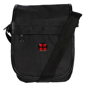 Kleine-Damen-Herren-Tasche-Umhaengetasche-Schultertasche-Schwarz-Nylon-Crossover