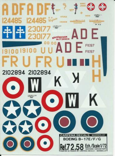 Carpena decals 1//72 F B-17 E G Flying Fortress ref 72.58