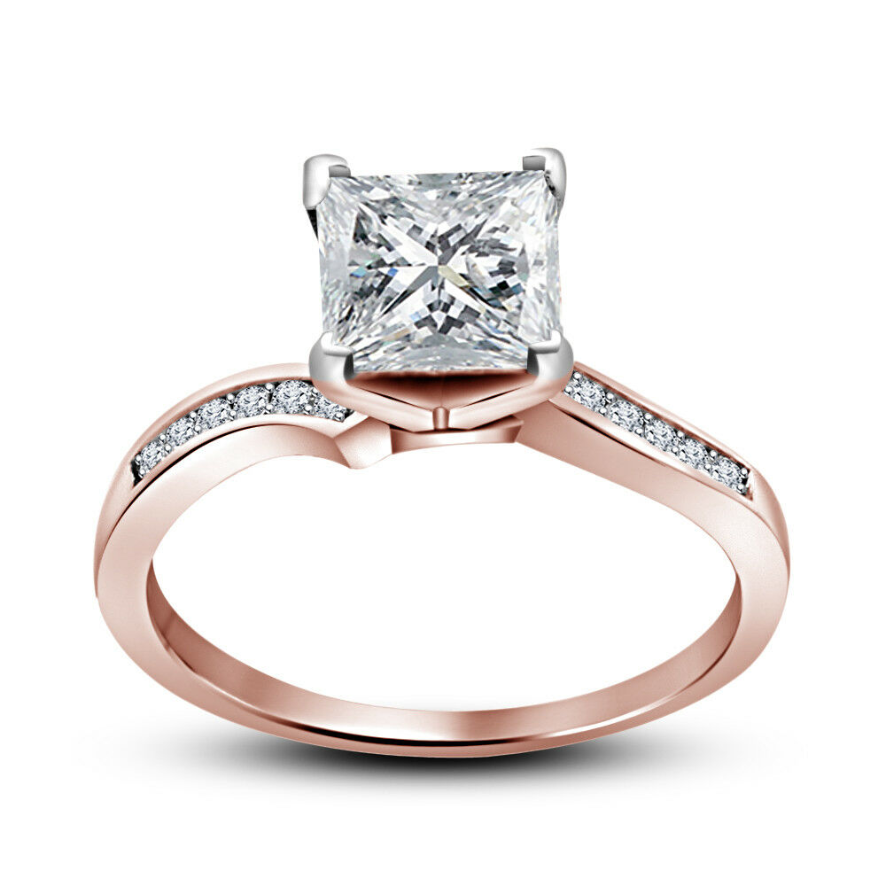 Women's 14K Rose Gold FN 1.20 CT Princess D/VVS1 Diamond Engagement Wedding Ring