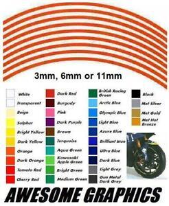 """11mm WHEEL RIM STICKERS fit APRILIA RSV RS DUCATI ZX9 R1 R6 GSXR 15"""" to18"""" wheel"""