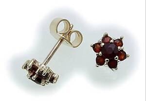 Damen-Ohrringe-Granat-echt-Gold-333-Gelbgold-8kt-Ohrstecker-Stecker-Rot