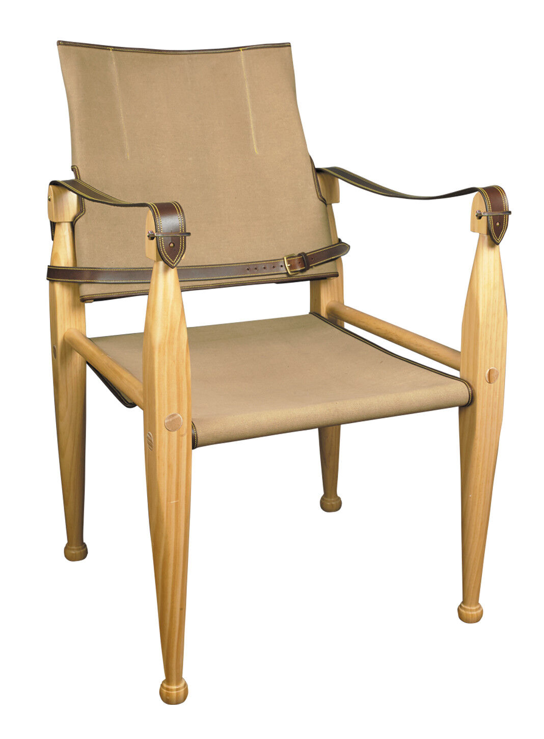 Campaign Chair Canvas & Leather 35  Wooden British Officer's Camp Furniture New