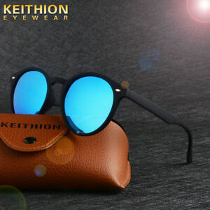 KEITHION-Round-Polarized-Sunglasses-Men-Womens-Vintage-Retro-Mirrored-Eyewear