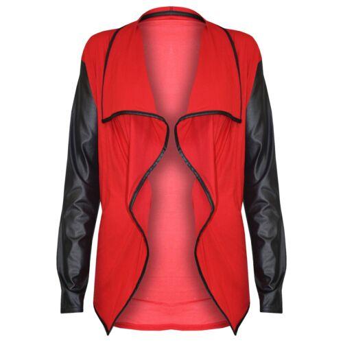 Da Donna a Maniche Lunghe PVC Look Bagnato Aperto Cascata Cardigan Blazer Top