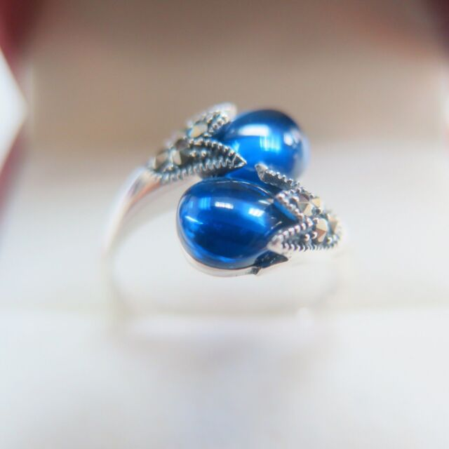 Real Pure S925 Sterling Silver & Blue Corundum Double Bead ...