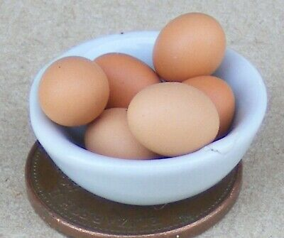 Dollhouse Miniature size 6 Loose Brown Eggs for your Dollhouse
