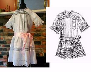 Antique-Sewing-Pattern-Edwardian-1912-Little-Girl-039-s-Fancy-Lingerie-Dress-2-3-Yrs