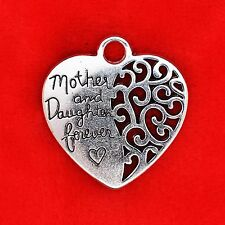 SC2654 8 Mother Daughter Hearts Charms Antique Silver Tone