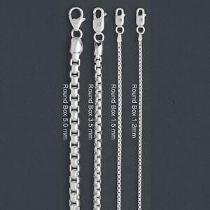 Image Is Loading Italy Sterling Silver Round Box Chain Necklace Bracelet
