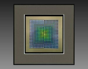 VICTOR-VASARELY-1906-1997-ANCIENNE-SERIGRAPHIE-034-CYNETIQUE-034-VERS-1970-75-28