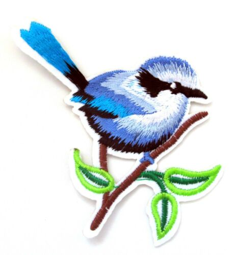 Blue Bird Iron On Patch Animal Nature Garden Badge Embroidered Applique Crafts