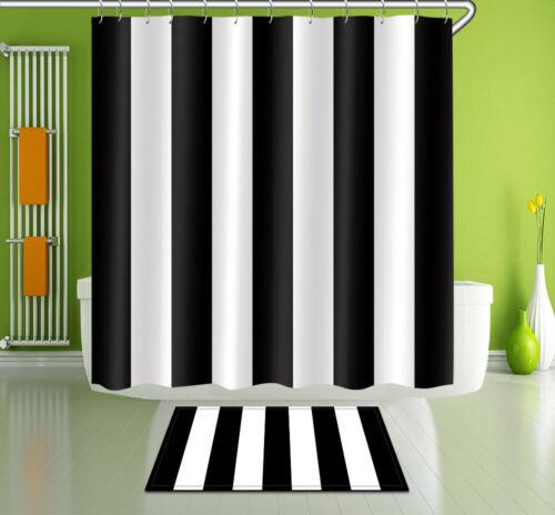 "Black White Stripes Shower Curtain Bathroom Mat Set Waterproof Fabric 72//79/"" 360"