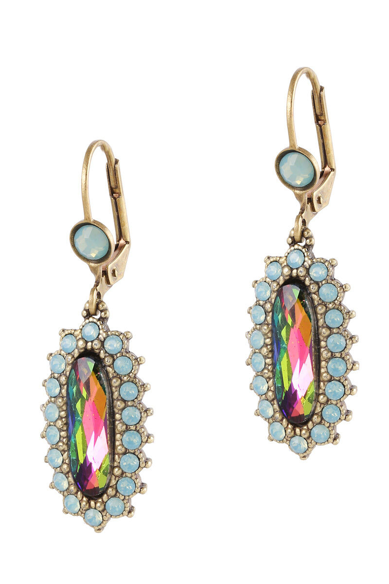 Michal Negrin Earrings Drop Dangle Turquoise Swarovski Crystals