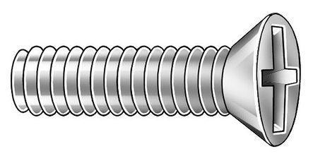 Flat Head Phillips Machine Screw 100 pk. ZORO SELECT 6HB83 M3-0.5 x 40 mm