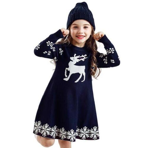 Weihnachten Mädchen Kinder Weihnachtskleid Langarm Minikleid Christmas Longshirt
