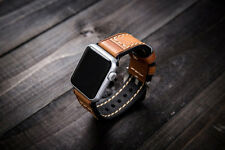 For Apple Watch Band Orange Vintage Genuine Leather Strap Wrist Band iwatch 38mm