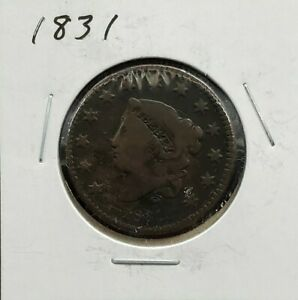 1831 Coronet Liberty Head US Large Cent 1c Choice Fine Circulated Condition