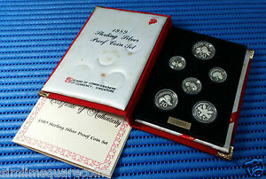 1989 Singapore Sterling Silver Proof Coin Set (1¢ - $1 Coin)