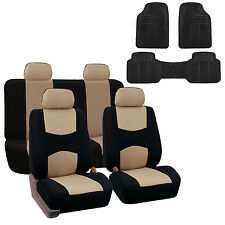 Beige Black Car Seat Covers With Heavy Duty Floor Mats Full 2 Row Set Auto