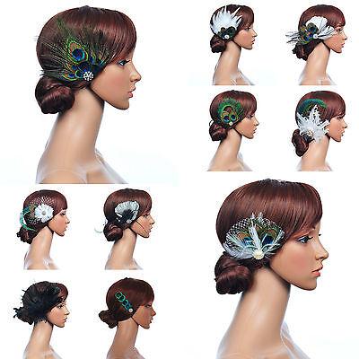 10 Styles Vintage Peacock Feather Fascinator Bridal Hair Flower Wedding Hairclip