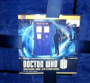 NEW-Doctor-Who-XL-Micro-Raschel-Blanket-Throw-Full-Adult-Size-Tardis-50x89-Twin