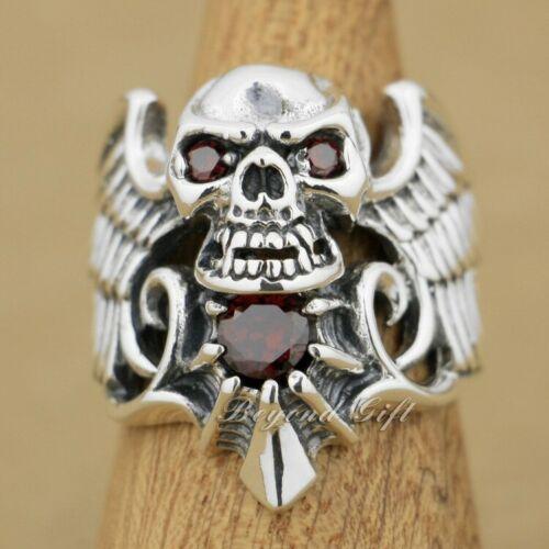 Plata esterlina 925 ala cráneo Rojo Diablo Cubic Zirconia Anillo Punk Motociclista para Hombre 9M013 US 7 ~ 15