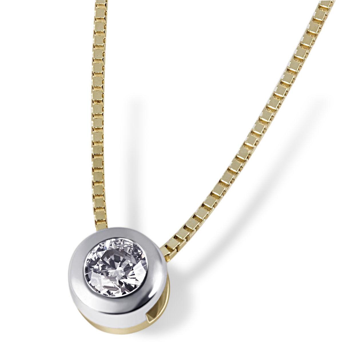 oro Maid CATENA COLLANA solitario 585 oro bianco bianco bianco oro 1 brillante afgani 0 10 CT 2fe789