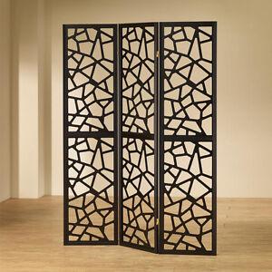 3 panels stylish room divider folding screens shoji carved out accent details ebay - Stylish room divider ...
