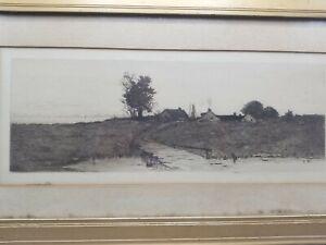 CIRCA-1911-WW1-INK-LANDSCAPE-DRAWING-PEASANT-FARMS-POSSIBLY-DUTCH-FRAMED