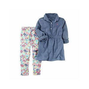0cdbb2bab7 Details about NWT $38 Carter's 2-Piece Denim Chambray Tunic Shirt & Floral  Leggings Set Sz 4 7