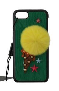 5b0b9814cb8b NEW  380 DOLCE   GABBANA Phone Case Green Leather Lapin Fur Ice ...