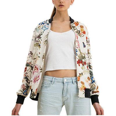 Retro Butterfly Bird Flower Print Jacket Women Zipper Casual Pilot Bomber Coat
