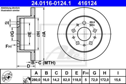 250/_, HA 2x ATE Bremsscheibe Hinterachse 24.0116-0124.1 für FIAT DUCATO Bus