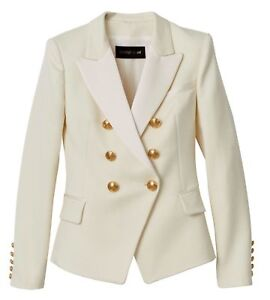 Balmain X H&M Double Breasted White Ivory Wool Jacket Blazer Sz Eu36 Uk10 Us6 by Ebay Seller