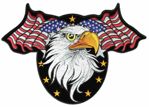 Eagle And Stars Embroidered Biker Patch FREE SHIP Patriotic American Flags