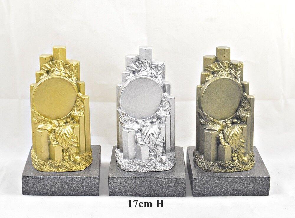 Sieger - - - Gewinner -  Resine Trophäe metalisiert 17cm, incl. Wunsch-Text+Emblem 589837