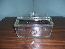 Vintage Westinghouse Loaf/Bread Dish - Clear-Amber-Glass Lid / Round Knob Handle