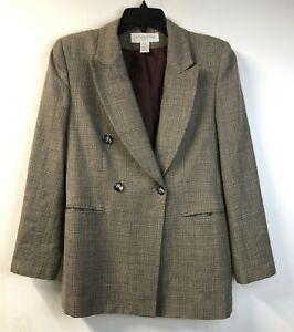 Vtg Jones New York Blazer Double Breasted Brown Plaid Wool Jacket Sz 6 Petite