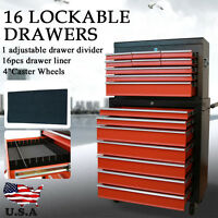 New 16 Drawer Mechanic Tool Box Chest Cabinet Toolbox Roller Cabinet - Orange