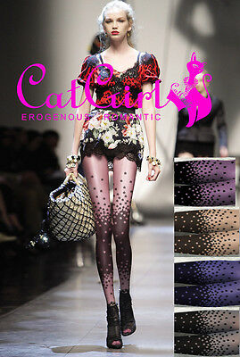 Sexy No Sheer Unique Flowers Pattern Gradient Colors Fashion Pantyhose Stockings