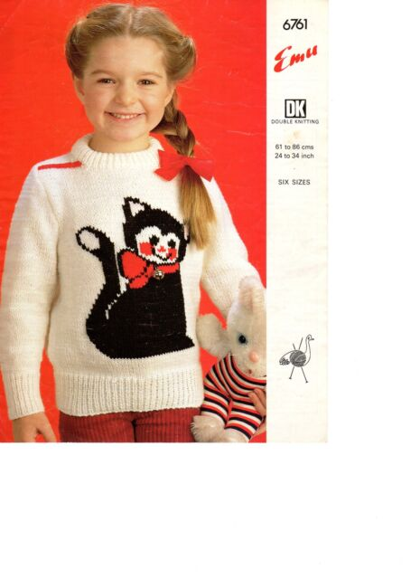 cat jumper  knitting pattern 99p